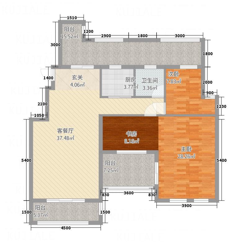 维多利亚12.00㎡4户型2室2厅1卫1厨