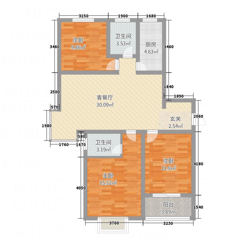 绿洲新城118.60㎡A户型3室2厅2卫