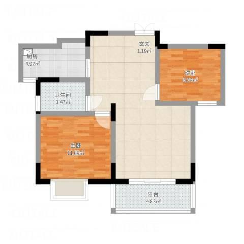置诚公馆2室1厅1卫1厨88.00㎡户型图