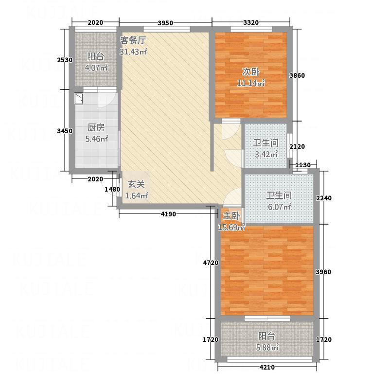 中南国际城118.17㎡C2户型2室2厅2卫1厨