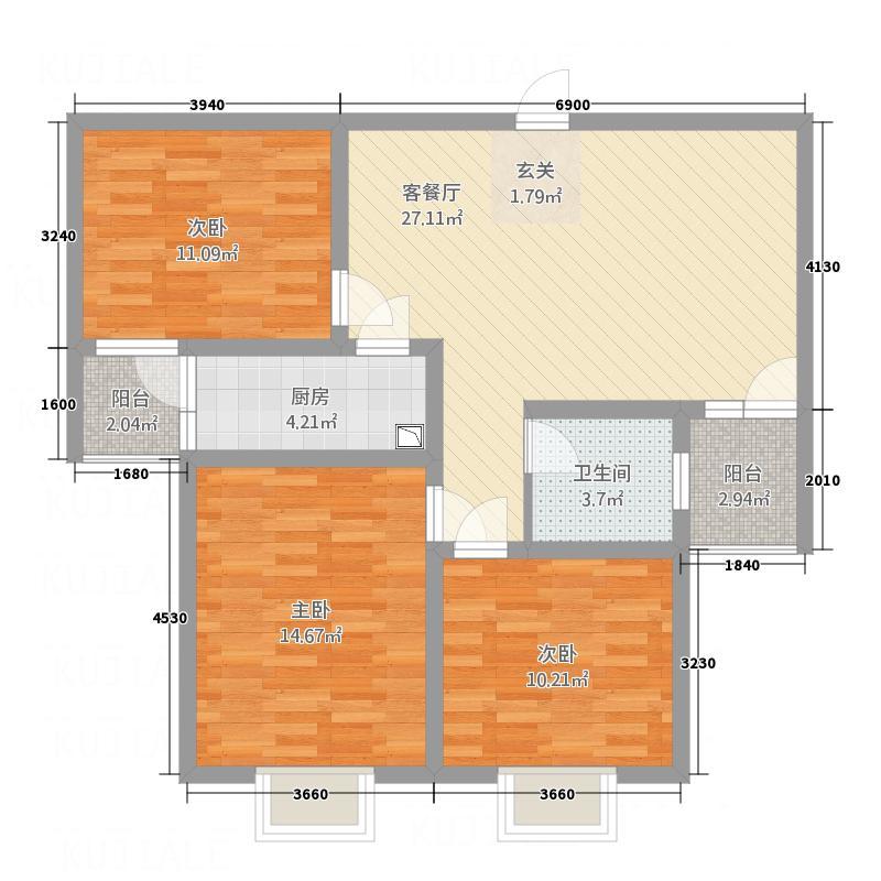 中南国际城11.00㎡C3户型3室2厅1卫1厨