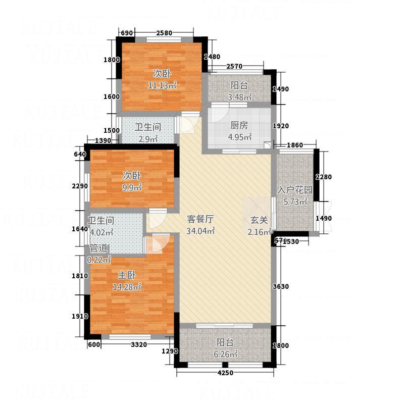 天盛长岛131.00㎡D1户型3室2厅2卫1厨