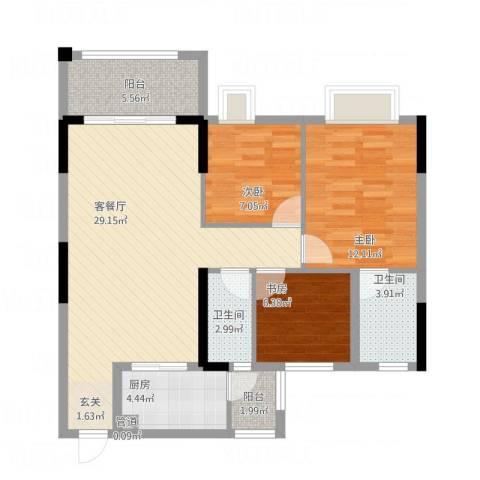 华英城三期3室1厅2卫1厨106.00㎡户型图