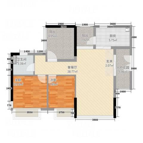 汇银环湖国际2室1厅1卫1厨104.00㎡户型图