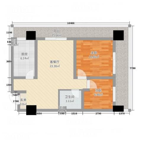 星舍2室1厅1卫1厨65.71㎡户型图