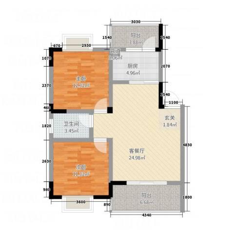 瑞阳领域2室1厅1卫1厨67.66㎡户型图