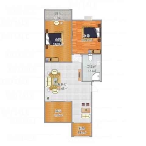 新馨家园2室1厅1卫1厨115.00㎡户型图