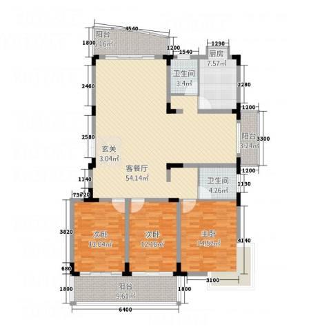 鸿梦缘庭3室1厅2卫1厨159.00㎡户型图