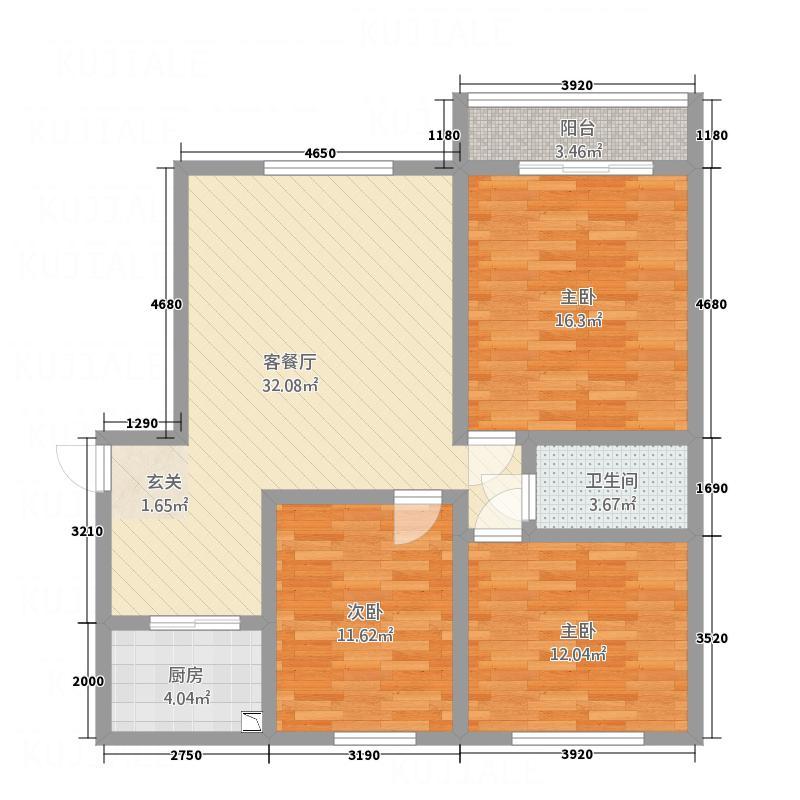 振�苹果园小区12.82㎡B1户型3室2厅1卫