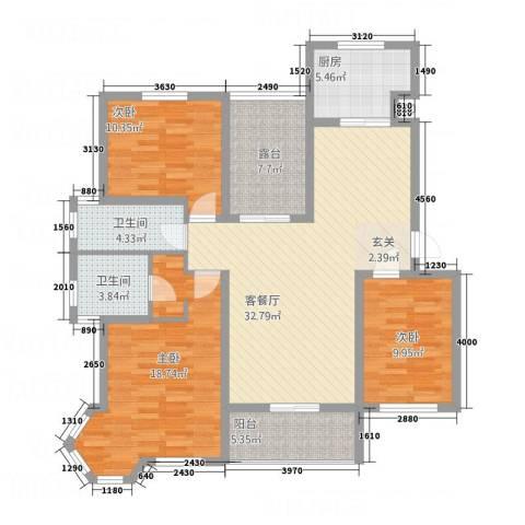 来泉山庄3室1厅2卫1厨98.50㎡户型图