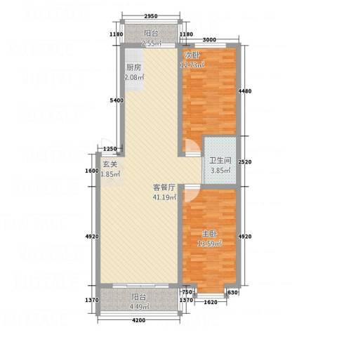 都市花园2室1厅1卫0厨111.00㎡户型图