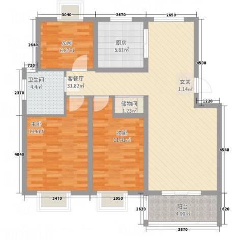 来泉山庄3室1厅1卫1厨115.00㎡户型图