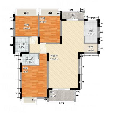 伴山尊品3室1厅2卫1厨126.00㎡户型图