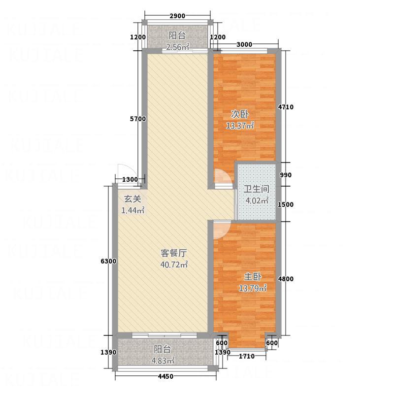 都市花园8.84㎡F户型2室2厅1卫1厨