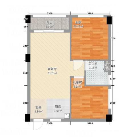 碧桂园・空港国际2室1厅1卫0厨70.00㎡户型图