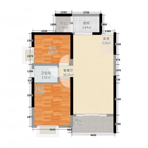 景翠名都2室1厅1卫1厨98.00㎡户型图