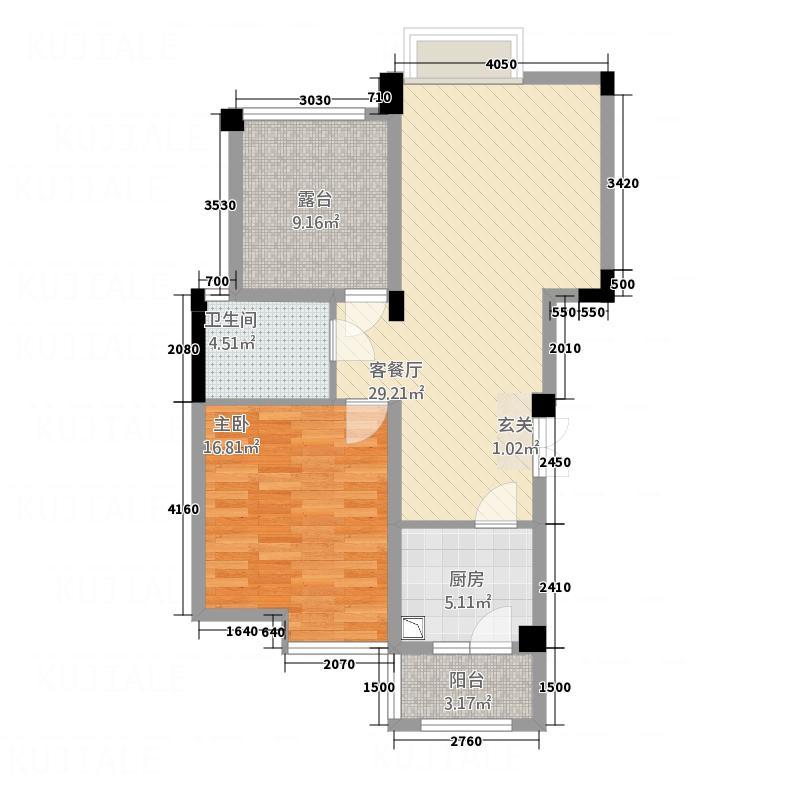 雒城一号281.20㎡F户型2室2厅1卫1厨