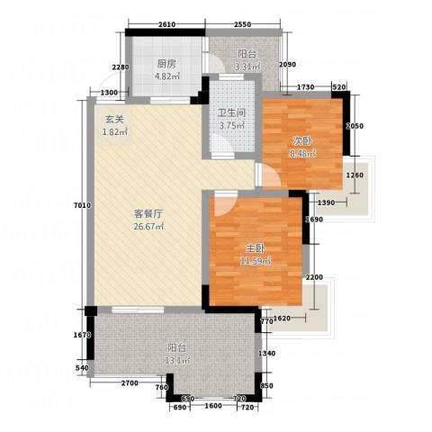瑞阳领域2室1厅1卫1厨87.00㎡户型图