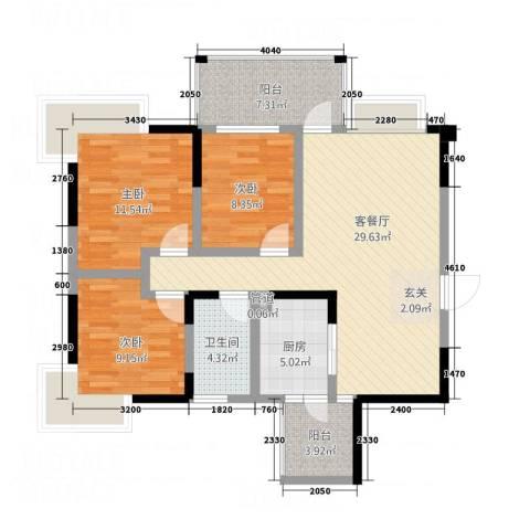 瑞阳领域3室1厅1卫1厨85.00㎡户型图