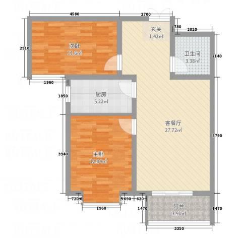 锦江华庭2室1厅1卫1厨64.66㎡户型图
