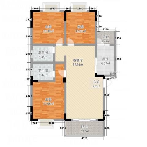 瑞阳领域3室1厅2卫1厨124.00㎡户型图