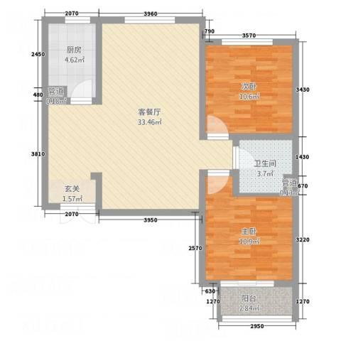 锦江华庭2室1厅1卫1厨66.44㎡户型图