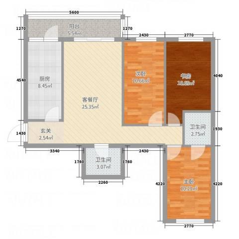 明和彩座3室1厅2卫1厨76.72㎡户型图