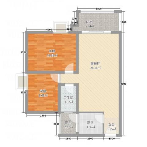 翠茵庭2室1厅1卫1厨78.00㎡户型图