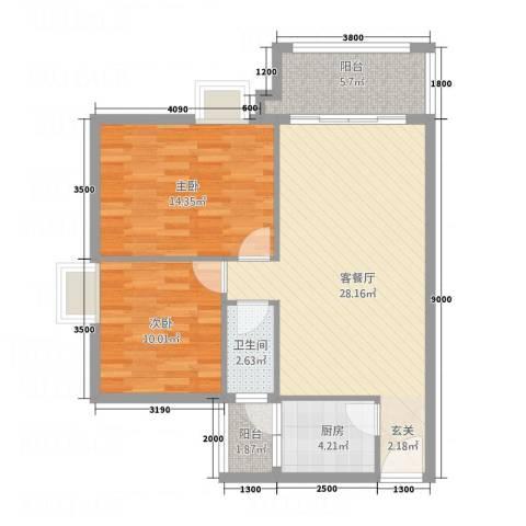 翠茵庭2室1厅1卫1厨94.00㎡户型图