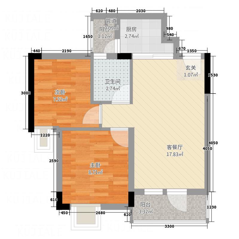 星座尚筑5.00㎡2号楼03、04平面图户型2室2厅1卫1厨