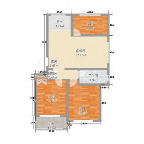 太阳城3室1厅1卫0厨78.07㎡户型图