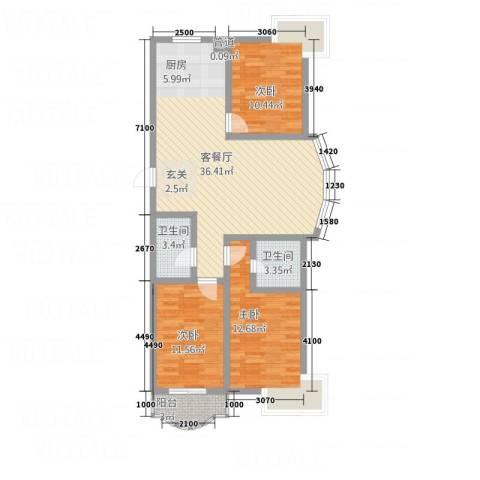 新盛花园3室1厅2卫0厨116.00㎡户型图