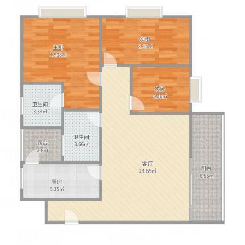 金碧时代广场3室1厅2卫1厨98.00㎡户型图