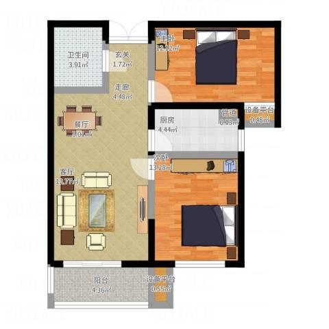 四季风景2室1厅1卫1厨90.00㎡户型图