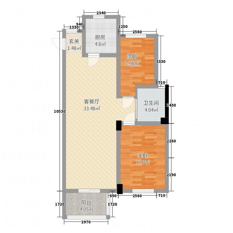 御园福邸6.41㎡A1户型2室2厅1卫1厨