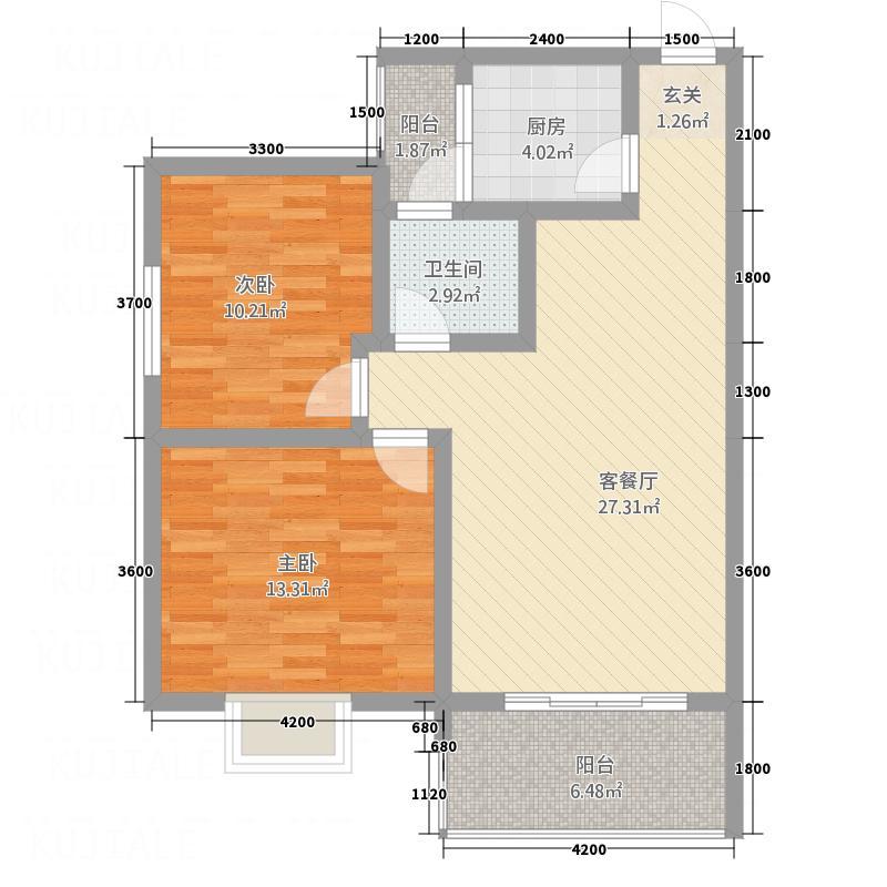 紫御荣庭7.64㎡D1'型1-5层户型2室2厅1卫1厨