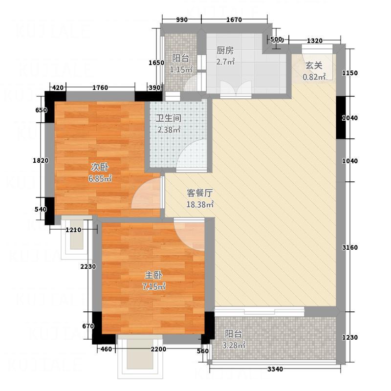星座尚筑5.00㎡紫微浪漫屋03、04平面户型2室2厅1卫1厨