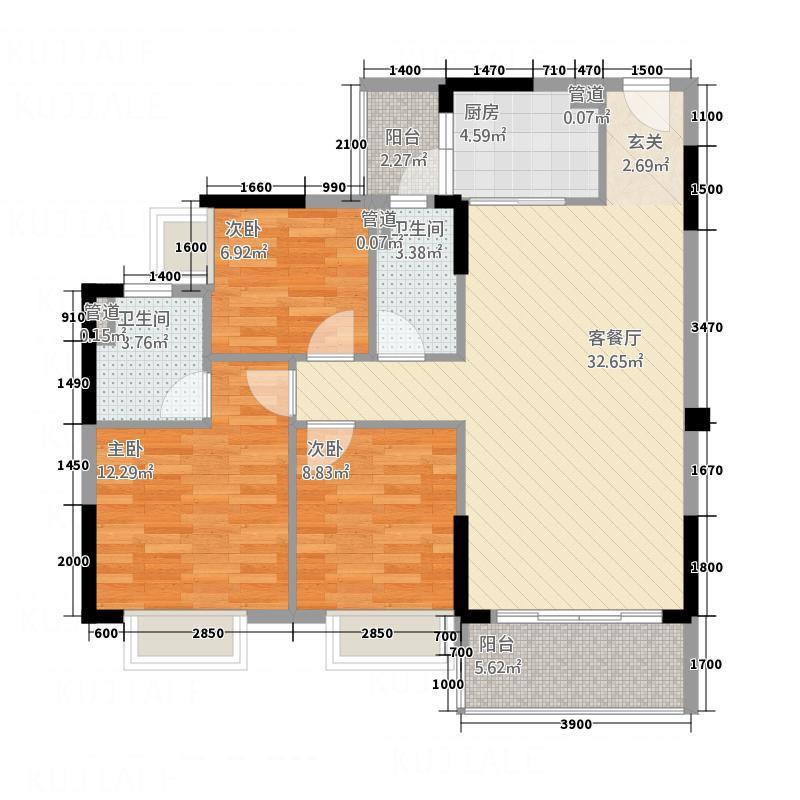 龙翔花园二期洋房1栋4/7户型3室2厅2卫1厨
