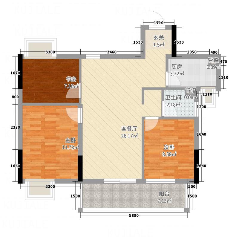 新湖国际・上峰阁上峰阁户型3室2厅1卫