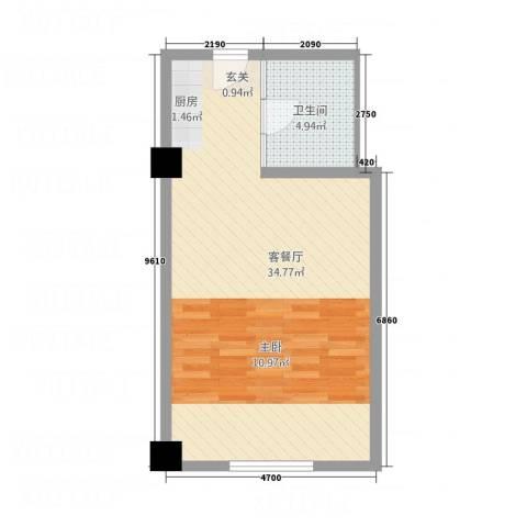新兴SOLO尚座1厅1卫0厨55.00㎡户型图