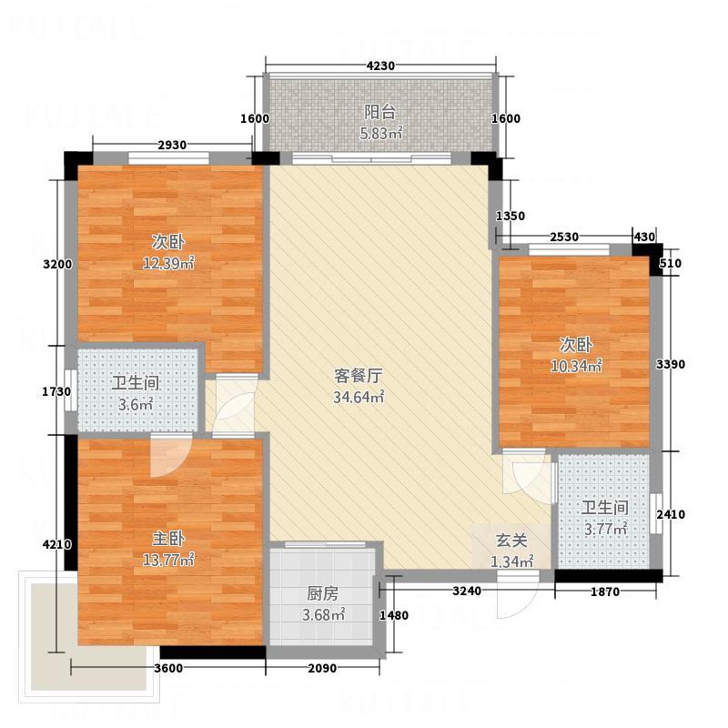 金基森林阳光户型3室2厅1卫1厨