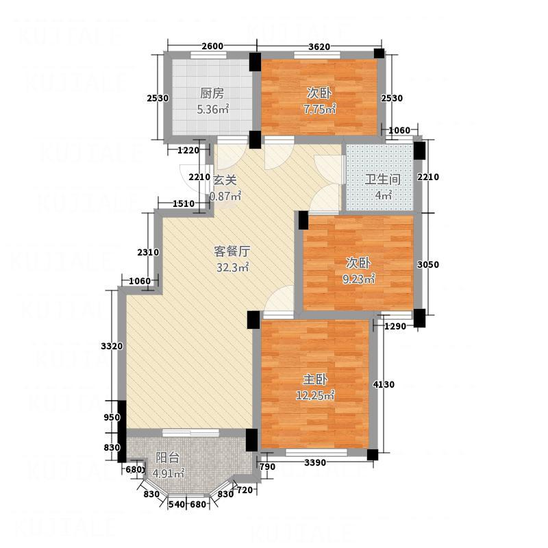 御园福邸1.64㎡C户型3室2厅1卫1厨