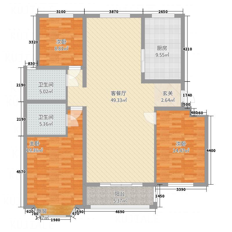 愉景华庭户型3室