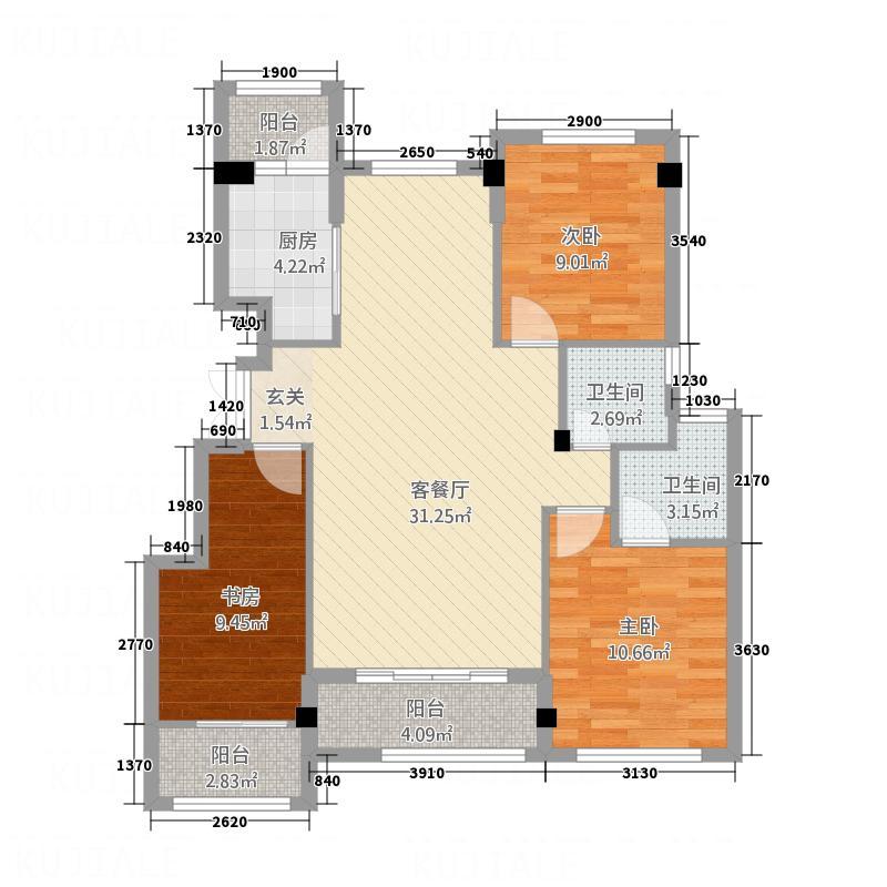 宏成御苑1322113.25㎡户型3室2厅2卫1厨