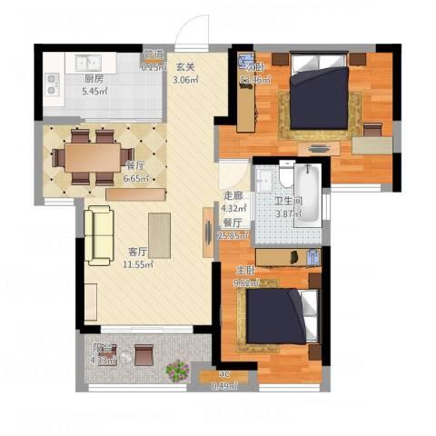 海伦春天2室1厅1卫1厨90.00㎡户型图