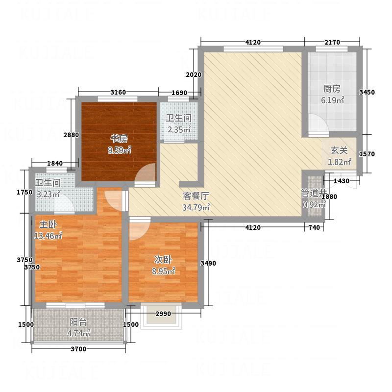 红安帝都121.14㎡B1户型3室2厅2卫1厨