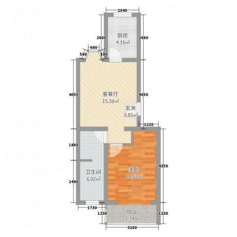 北京河畔丽景三期1室1厅1卫1厨46.90㎡户型图