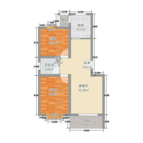 北京河畔丽景三期2室1厅1卫1厨65.17㎡户型图