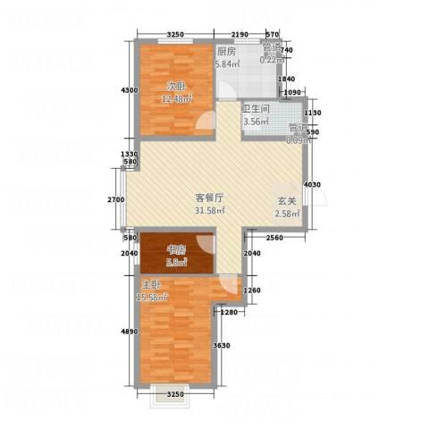 大商・中心城3室1厅1卫1厨75.15㎡户型图