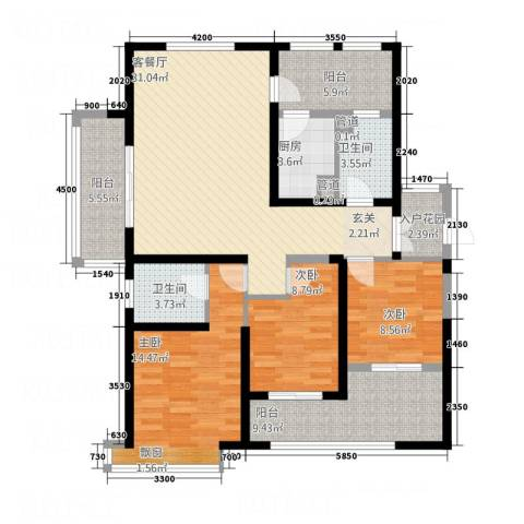 星雨华府3室1厅2卫1厨142.00㎡户型图